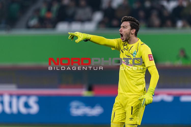 01.12.2019, Volkswagen Arena, Wolfsburg, GER, 1.FBL, VfL Wolfsburg vs SV Werder Bremen<br /> <br /> DFL REGULATIONS PROHIBIT ANY USE OF PHOTOGRAPHS AS IMAGE SEQUENCES AND/OR QUASI-VIDEO.<br /> <br /> im Bild / picture shows<br /> Jiri Pavlenka (Werder Bremen #01), <br /> <br /> Foto © nordphoto / Ewert