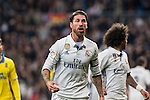 Sergio Ramos  of Real Madrid seen red card during the match of Spanish La Liga between Real Madrid and UD Las Palmas at  Santiago Bernabeu Stadium in Madrid, Spain. March 01, 2017. (ALTERPHOTOS / Rodrigo Jimenez)