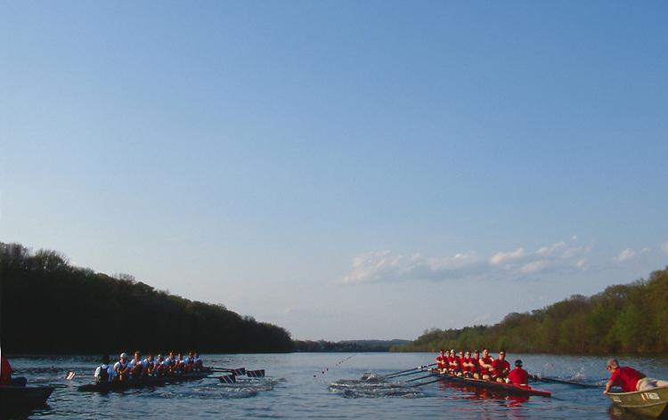 Rowing, Carnegie Lake, Men's eights racing, Princeton, New Jersey