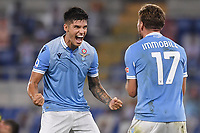 Ciro Immobile of Lazio celebrates with Joaquin Correa after scoring the goal 2-0 during the Serie A football match between SS Lazio  and Brescia Calcio at stadio Olimpico in Roma (Italy), July 29th, 2020. Play resumes behind closed doors following the outbreak of the coronavirus disease. <br /> Photo Antonietta Baldassarre / Insidefoto