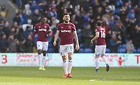 Dejection for West Ham<br /> <br /> Photographer Rob Newell/CameraSport<br /> <br /> The Premier League - Cardiff City v West Ham United - Saturday 9th March 2019 - Cardiff City Stadium, Cardiff<br /> <br /> World Copyright © 2019 CameraSport. All rights reserved. 43 Linden Ave. Countesthorpe. Leicester. England. LE8 5PG - Tel: +44 (0) 116 277 4147 - admin@camerasport.com - www.camerasport.com