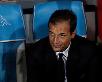 Calcio, Serie A: Napoli vs Juventus. Napoli, stadio San Paolo, 26 settembre 2015. <br /> Juventus' coach Massimiliano Allegri waits for the start of the Italian Serie A football match between Napoli and Juventus at Naple's San Paolo stadium, 26 September 2015.<br /> UPDATE IMAGES PRESS/Isabella Bonotto<br /> <br /> *** ITALY AND GERMANY OUT ***
