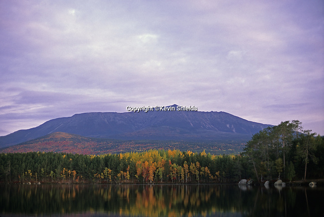 Fall view of MT Katahdin, Baxter State Park, Maine, USA