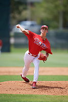 GCL Phillies East relief pitcher Tyler McKay (16) delivers a pitch during a game against the GCL Blue Jays on August 10, 2018 at Carpenter Complex in Clearwater, Florida.  GCL Blue Jays defeated GCL Phillies East 8-3.  (Mike Janes/Four Seam Images)