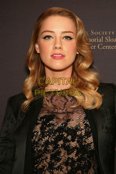 AMBER HEARD .attend The Society of Memorial Sloan-Kettering Cancer Center's Annual Fall Party at the Four Seasons Restaurant, New York, NY, USA, .November 16th, 2010.portrait headshot  black jacket lace top  blazer beige sheer see thru through wavy hair  fishnet sequined sequin make-up eyeliner beauty .CAP/LNC.©TOM/LNC/Capital Pictures.