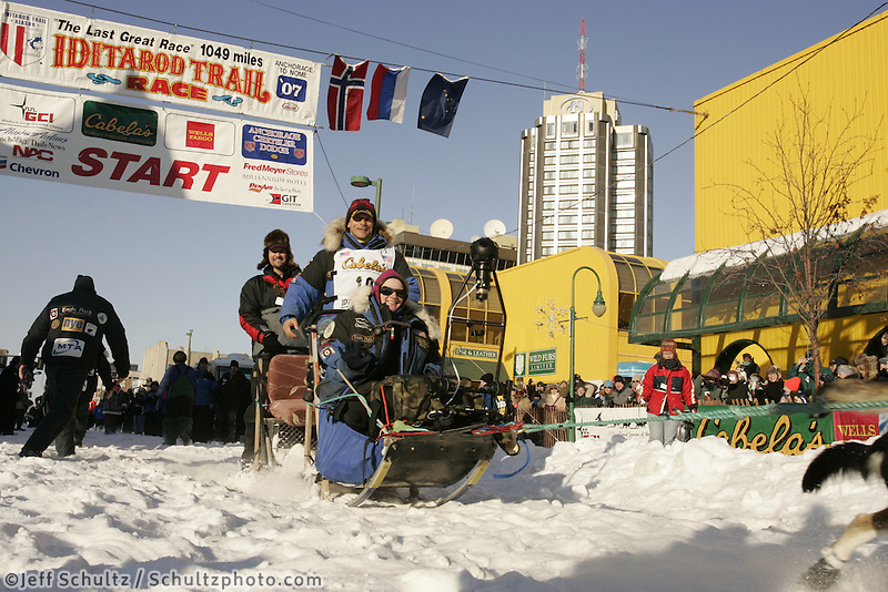 March 3, 2007   4-time Iditarod champion Martin Buser leaves the start line during the Iditarod ceremonial start day in Anchorage