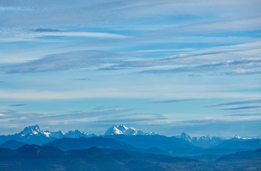 Whitehorse Mountain and Three Fingers South as seen from the Mt. Erie Viewpoint on Fidalgo Island, Washington State.