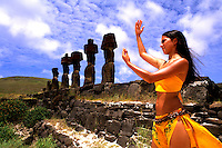 Woman in Costume at Ahu Tongarriki in Easter Island during Tapati Festival Rapa Nui