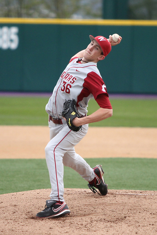 Travis Cook (#36), Washington State starter, fires to the plate during the Cougars Pac-10 conference extra-inning victory over arch-rival Washington in Seattle, Washington, on April 3, 2010.