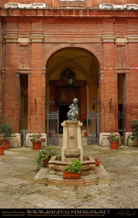 Baptismal Fountain, Fulvio Corsini 1947, Contrada Chiocciola Contrade of the Snail, Chiocciola Oratory 14th-19th c., Via di San Marco, Siena, Italy