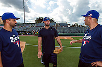 18 September 2012: Coaches Jamel Boutagra, Eric Gagne and Arnaud Fau are seen during Team France practice, at the 2012 World Baseball Classic Qualifier round, in Jupiter, Florida, USA.