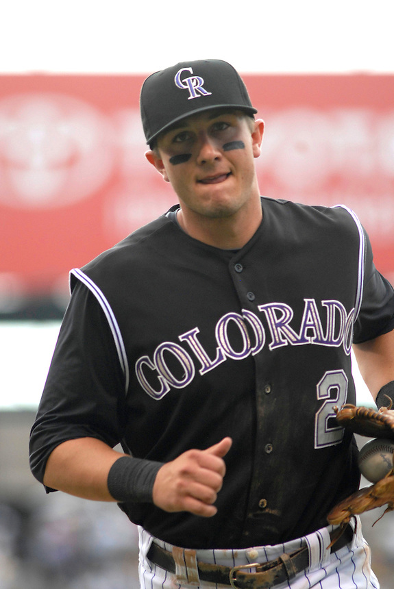 22 June 2008: Colorado Rockies shortstop Troy Tulowitzki during a game against the New York Mets. The Mets defeated the Rockies 3-1 at Coors Field in Denver, Colorado on June 22, 2008. FOR EDITORIAL USE ONLY. FOR EDITORIAL USE ONLY