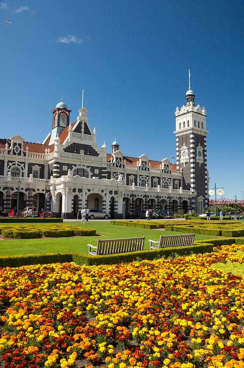 The historic Dunedin Railway station building on a blue sky day,  Otago, South Island, New Zealand- stock photo, canvas, fine art print