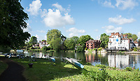 Maidenhead. Berkshire. United Kingdom. General view Competitors boats on slings beside, Maidenhead RC Boathouse. 2017 Maidenhead Junior Regatta  River Thames. <br /> Blue River Cafe in the background.<br /> [&copy;Peter SPURRIER/Intersport Images] Sunday. 14.05.2017