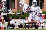 Los Angeles, CA 03/20/10 - Andrew Manglapus (LMU # 14) and John Solomon (Arizona # 43) in action during the Arizona-Loyola Marymount University MCLA game at Leavey Field (LMU).  LMU defeated Arizona 13-6.