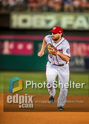 7 October 2017: Washington Nationals second baseman Daniel Murphy in action during the second NLDS game against the Chicago Cubs at Nationals Park in Washington, DC. The Nationals defeated the Cubs 6-3 and even their best of five Postseason series at one game apiece. Mandatory Credit: Ed Wolfstein Photo *** RAW (NEF) Image File Available ***