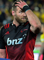 Kieran Read looks at the scoreboard after the Super Rugby match between the Hurricanes and Crusaders at Westpac Stadium in Wellington, New Zealand on Saturday, 15 July 2017. Photo: Dave Lintott / lintottphoto.co.nz