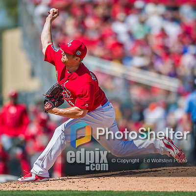 6 March 2016: St. Louis Cardinals pitcher Trevor Rosenthal on the mound during a Spring Training pre-season game against the Washington Nationals at Roger Dean Stadium in Jupiter, Florida. The Nationals defeated the Cardinals 5-2 in Grapefruit League play. Mandatory Credit: Ed Wolfstein Photo *** RAW (NEF) Image File Available ***