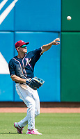 NWA Democrat-Gazette/CHARLIE KAIJO Northwest Arkansas Naturals center fielder Donnie Dewees (16) makes a pass during a baseball game, Sunday, May 13, 2018 at Arvest Ballpark in Springdale.