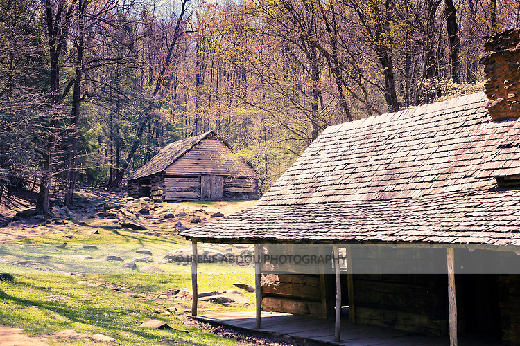 Historic wood cabins in Cades Cove, Smoky Mountains National Park, Tennessee