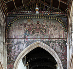 Medieval doom painting of the Day of Judgement, Church of Saint Thomas, Salisbury, Wiltshire, England, UK