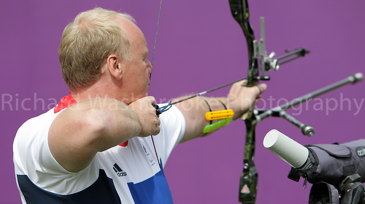 Paralympics London 2012 - ParalympicsGB - Archery Mens Individual Recurve - Standing  30th August 2012.  .Kenny Allen, competing in the mens Archery Individual Recurve Heats - Standing at the Paralympic Games in London. Photo: Richard Washbrooke/ParalympicsGB