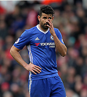Chelsea's Diego Costa<br /> <br /> Photographer Mick Walker/CameraSport<br /> <br /> The Premier League - Stoke City v Chelsea - Saturday 18th March 2017 - bet365 Stadium - Stoke<br /> <br /> World Copyright &copy; 2017 CameraSport. All rights reserved. 43 Linden Ave. Countesthorpe. Leicester. England. LE8 5PG - Tel: +44 (0) 116 277 4147 - admin@camerasport.com - www.camerasport.com