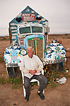 Leonard Knight artist and creator of Salvation Mountain by the Slabs near Niland, Calif...Leonard Knight with his 1930s GMC art truck