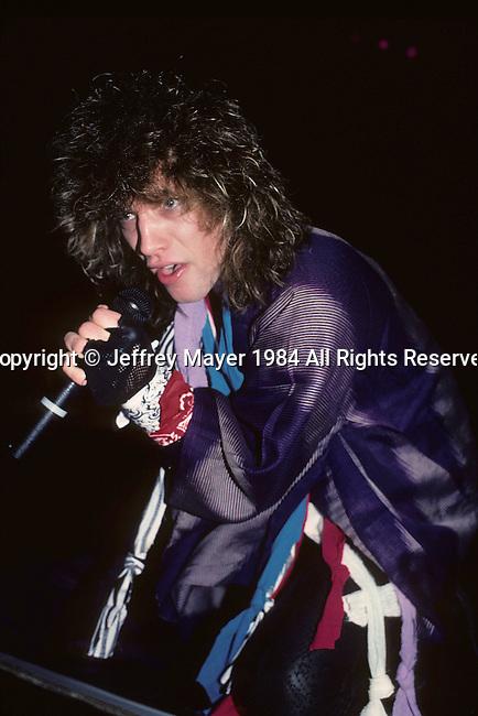 LOS ANGELES, CA - DECEMBER 2: Jon Bon Jovi of Bon Jovi in Concert on April 26, 1984 at The Forum in Los Angeles, California.........................................................................................................................................