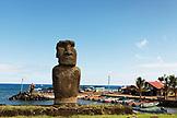 EASTER ISLAND, CHILE, Isla de Pascua, Rapa Nui, the Ahu Tautira Moai overlooking the Caleta Hanga Roa Harbor