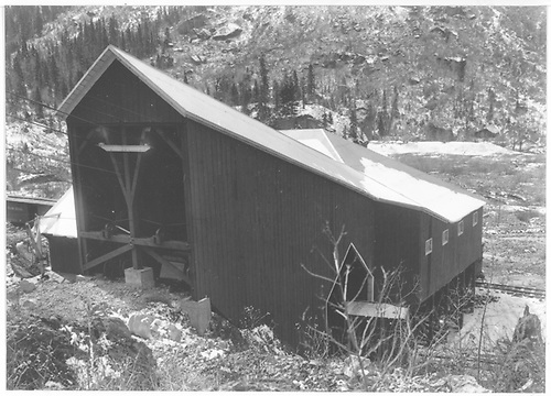 A close look at the uphill-facing portion of the Tomboy Gold Mines Co. tramway lower terminal at Pandora.<br /> RGS  Pandora, CO