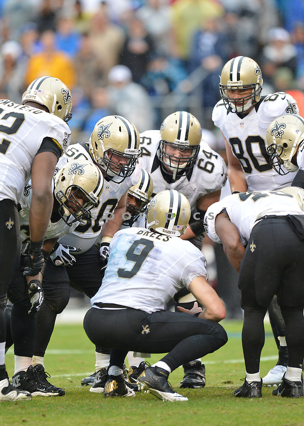 New Orleans Saints Drew Brees (9) during a game against the Carolina Panthers on December 22, 2013 at Bank of America Stadium in Charlotte, NC. The Panthers beat the Saints 17-13.