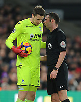Todays match referee Michael Oliver speaks to Crystal Palace's Wayne Hennessey<br /> <br /> Photographer Ashley Crowden/CameraSport<br /> <br /> The Premier League - Crystal Palace v Burnley - Saturday 13th January 2018 - Selhurst Park - London<br /> <br /> World Copyright &copy; 2018 CameraSport. All rights reserved. 43 Linden Ave. Countesthorpe. Leicester. England. LE8 5PG - Tel: +44 (0) 116 277 4147 - admin@camerasport.com - www.camerasport.com