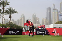 Jeunghun Wang (KOR) on the 1st tee during Round 1 of the Omega Dubai Desert Classic, Emirates Golf Club, Dubai,  United Arab Emirates. 24/01/2019<br /> Picture: Golffile | Thos Caffrey<br /> <br /> <br /> All photo usage must carry mandatory copyright credit (&copy; Golffile | Thos Caffrey)