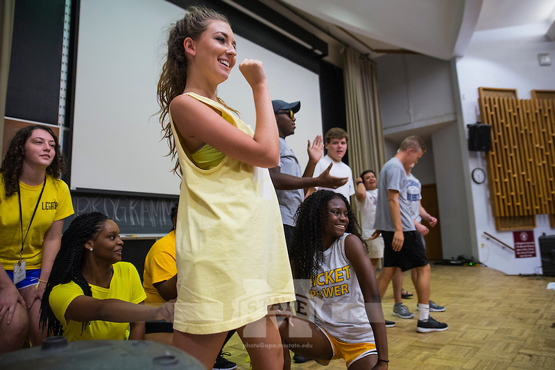 New Maroon Camp hosted a lip sync battle in Dorman Auditorium where campers created skits within subgroups to compete for winner of the evening.<br />  (photo by Sarah Dutton / &copy; Mississippi State University)
