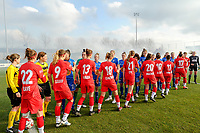 20200126 - OOSTAKKER , BELGIUM : KAA Gent ladies and Standard players shaking hand before the semi final of Belgian cup 2020 , a womensoccer game between KAA Gent Ladies and Standard Femina de Liege  , at the PGB stadion in Oostakker , sunday 26 th January 2020 . PHOTO SPORTPIX.BE | STIJN AUDOOREN