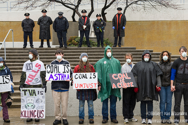 Protestors take part in the March in March outside the TVA headquarters in Knoxville, Tennessee. The protestors were protesting coal mining during an event called Mountain Justice Spring Break on March 14, 2009 in the United States of America.