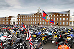 LONDON, ENGLAND, 22 May ,2014.  Mororcycles outside Woolwich Barracks of the Bikers gathered to mark the first anniversary of the murder of Fusilier Lee Rigby  near his Woolwich barracks.