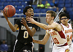 Word of Life's Trent McCall battles Whittell's Palmer Chaplin during the NIAA Division IV state basketball championship in Reno, Nev. on Saturday, Feb. 27, 2016. Whittell won 53-48.  Cathleen Allison/Las Vegas Review-Journal