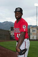 Billings Mustangs pitcher Ricardo Smith (45) poses for a photo prior to a Pioneer League game against the Ogden Raptors at Lindquist Field on August 17, 2018 in Ogden, Utah. The Billings Mustangs defeated the Ogden Raptors by a score of 6-3. (Zachary Lucy/Four Seam Images)