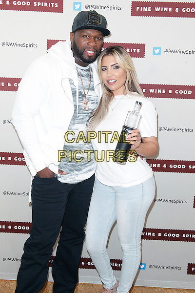 PHILADELPHIA, PA - APRIL 23 : 50 Cent ( Curtis Jackson ) pictured with Natalie Guercio from Mob Wives at his Effen Vodka signing at Fine Wine and Good Spirits Premium Collection Store in Philadelphia, Pa on April 23, 2016   <br /> CAP/MPI09<br /> &copy;MPI09/Capital Pictures