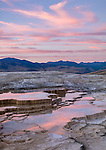 Yellowstone National Park, WY: Sunset clouds reflecting in the thermal pools on the upper terraces of Mammoth Hot Springs