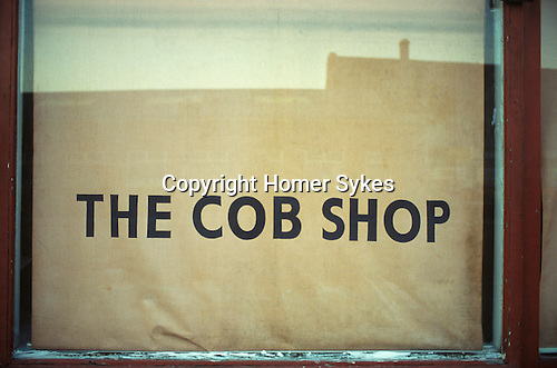 Cob shop window a cob is a bread roll in the North of England Hessle Road area.  Hull Humberside