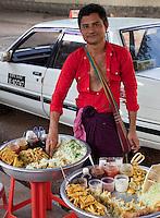 Myanmar, Burma.  Yangon Street Food Vendor.