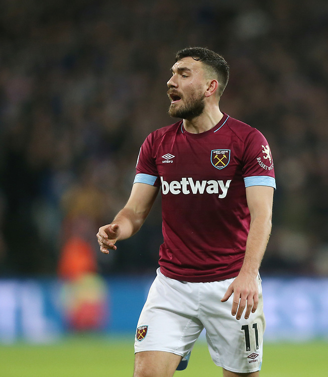 West Ham United's Robert Snodgrass<br /> <br /> Photographer Rob Newell/CameraSport<br /> <br /> The Premier League - West Ham United v Brighton and Hove Albion - Wednesday 2nd January 2019 - London Stadium - London<br /> <br /> World Copyright © 2019 CameraSport. All rights reserved. 43 Linden Ave. Countesthorpe. Leicester. England. LE8 5PG - Tel: +44 (0) 116 277 4147 - admin@camerasport.com - www.camerasport.com