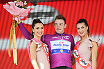Elia Viviani (ITA) Quick-Step Floors retains the Maglia Ciclamino at the end of Stage 18 of the 2018 Giro d'Italia, running 196km from Abbiategrasso to Prato Nevoso, Italy. 24th May 2018.<br /> Picture: LaPresse/Gian Mattia D'Alberto | Cyclefile<br /> <br /> <br /> All photos usage must carry mandatory copyright credit (&copy; Cyclefile | LaPresse/Gian Mattia D'Alberto)