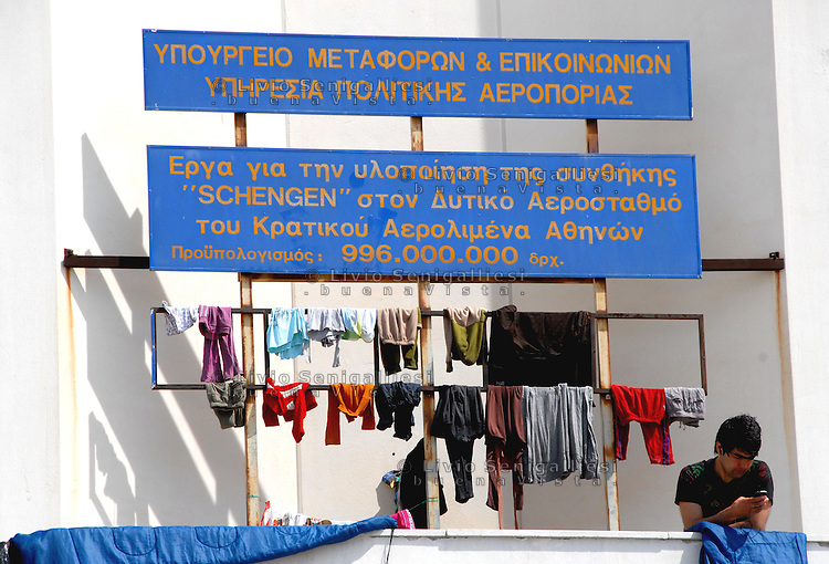 """Athens / Greece 01/04/2016<br /> Refugee camp run by greeck government in Athens suburb area of the former airport known as """"West Hellenico"""".<br /> Photo Livio Senigalliesi"""
