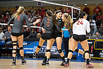 GRAND RAPIDS, MI - NOVEMBER 18: Shelbi Stein (3)<br /> Claremont-Mudd-Scripps is congratulated by her teammates during the Division III Women's Volleyball Championship held at Van Noord Arena on November 18, 2017 in Grand Rapids, Michigan. Claremont-M-S defeated Wittenberg 3-0 to win the National Championship. (Photo by Doug Stroud/NCAA Photos via Getty Images)