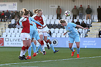 Louise Quinn of Arsenal scores the first goal for her team and celebrates during Arsenal Women vs Sunderland AFC Ladies, FA Women's Super League FA WSL1 Football at Meadow Park on 12th November 2017
