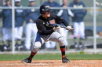 Mercer Bears infielder Austin Barrett #23 during a game against the Notre Dame Fighting Irish at the Buck O'Neil Complex on February 17, 2013 in Sarasota, Florida.  Mercer defeated Notre Dame 5-4.  (Mike Janes/Four Seam Images)
